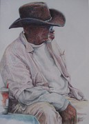 African American Man Drawings Prints - Gentleman Wearing the Dark Hat Print by Sharon Sorrels