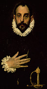 Old Face Framed Prints - Gentleman with his hand on his chest Framed Print by El Greco Domenico Theotocopuli
