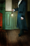 Candle Lit Posters - Gentleman with Lantern Poster by Jill Battaglia