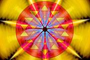 Vibration Framed Prints - Geo-cosmic Sri Yantra Framed Print by Derek Gedney