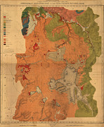 Vintage Map Paintings - Geological map of Yellowstone National Park 1878 by MotionAge Art and Design - Ahmet Asar
