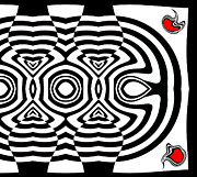 Op Art Digital Art Posters - Geometric Abstract Black White Red Art No.169  Poster by Drinka Mercep