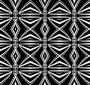 Op Art Digital Art Posters - Geometric Art Pattern Black White Abstract Print No.211 Poster by Drinka Mercep