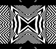 Op Art Digital Art Posters - Geometric Black White Abstract Art Print No.312. Poster by Drinka Mercep