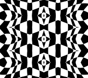 Op Art Digital Art Posters - Geometric Black White Op Art Pattern Abstract Art No.205. Poster by Drinka Mercep