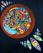 Dream Catcher Paintings - Geometric Dream Catcher by Amy Nelson