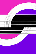 Natalie Kinnear Photos - Geometric Guitar Abstract II in Pink Purple Black White by Natalie Kinnear
