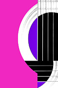 Featured Art - Geometric Guitar Abstract in Pink Purple Black White by Natalie Kinnear