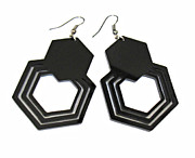 Silhouettes Jewelry - Geometric Hexagon Earrings by Rony Bank