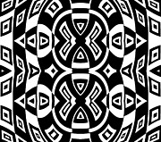 Op Art Digital Art Posters - Geometric Pattern Black White Art Print No.283. Poster by Drinka Mercep