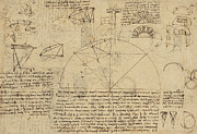 Engineering Drawings Prints - Geometrical study about transformation from rectilinear to curved surfaces and vice versa from Atlan Print by Leonardo Da Vinci
