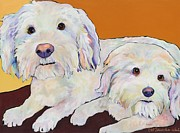 Custom Dog Portrait Paintings - George and Henry by Pat Saunders-White