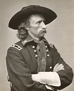 Portraiture Photo Framed Prints - George Armstrong Custer Framed Print by American School