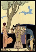 Posh Drawings Posters - George Barbier. Arrival of a fashionable Lady Poster by Pierpont Bay Archives