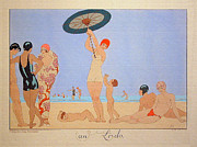 Bathers Digital Art Framed Prints - George Barbier Au Lido Beach Bathers Framed Print by Pierpoint Bay Archives