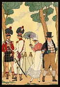 Gentleman Drawings - George Barbier. Lady out for a walk with her father. by Pierpont Bay Archives