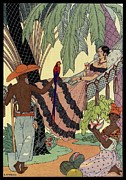 Watermelon Drawings Metal Prints - George Barbier. Spanish lady in hammoc with parrot.  Metal Print by Pierpont Bay Archives