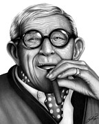 Graphite Drawings Drawings Posters - George Burns Poster by Charles Champin
