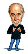 Funny Framed Prints - George Carlin Framed Print by Art