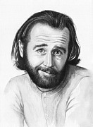 Black And White Mixed Media Framed Prints - George Carlin Portrait Framed Print by Olga Shvartsur