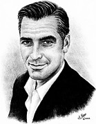 Famous Faces Drawings Posters - George Clooney Poster by Andrew Read