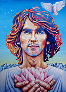 Himalayas Paintings - George Harrison by Debbie  Diamond