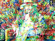The Beatles George Harrison Paintings - GEORGE HARRISON in the GARDEN PORTRAIT by Fabrizio Cassetta