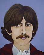 Fab Four  Art - George Harrison by Linda Kassabian