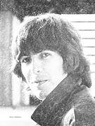 George Harrison Drawings - George Harrison pencil sketch by Steve Mitchell