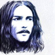 Fab Four Paintings - George Harrison Portrait by Wu Wei