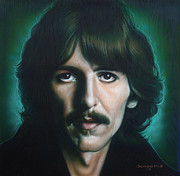 Celebrity Portraits Posters - George Harrison Poster by Tim  Scoggins