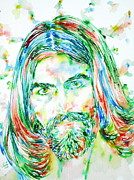 Guitar Player Prints - George Harrison Watercolor Portrait Print by Fabrizio Cassetta