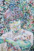 George Harrison Paintings - GEORGE HARRISON with CAT by Fabrizio Cassetta