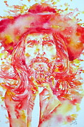 George Harrison Painting Prints - GEORGE HARRISON with HAT Print by Fabrizio Cassetta