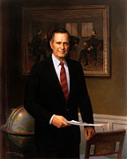 Republican Painting Framed Prints - George HW Bush Presidential Portrait Framed Print by War Is Hell Store