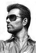 Michael Drawings Posters - George Michael art drawing sketch portrait Poster by Kim Wang
