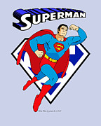 Cartoon Art Posters - George Reeves Superman Poster by Mista Perez Cartoon Art