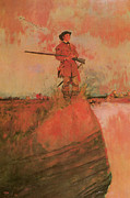 Howard Prints - George Rogers Clark on His Way to Kaskaskia Print by Howard Pyle