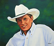 Single Painting Framed Prints - George Strait Framed Print by Paul  Meijering