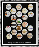 Bottle Cap Mixed Media Framed Prints - George Street Festival Bottle Caps Collage Framed Print by Barbara Griffin