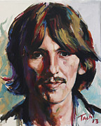 Guitarists Painting Originals - George  by Tachi Pintor