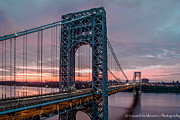 Nj Photo Originals - George Washington Bridge at twilight by Eduard Moldoveanu