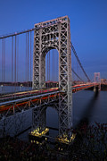 Nightscapes Framed Prints - George Washington Bridge At Twilight Framed Print by Susan Candelario