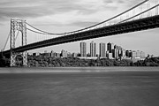 Uptown Posters - George Washington Bridge In Autumn BW Poster by Susan Candelario