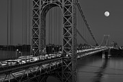 Full Moons Prints - George Washington Bridge Moon Rise BW Print by Susan Candelario