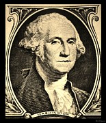 U S Founding Father Prints - GEORGE WASHINGTON in SEPIA Print by Rob Hans