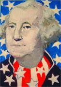Independence Day Painting Framed Prints - George Washington in stars and stripes Framed Print by Diane Ursin