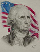 Founding Father Drawings Prints - George Washington Print by Michael S Dooley sr
