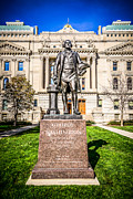Indiana Trees Posters - George Washington Statue Indianapolis Indiana Statehouse Poster by Paul Velgos