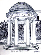 Pen And Ink Drawing Mixed Media Posters - George Washington University Poster by Frederic Kohli